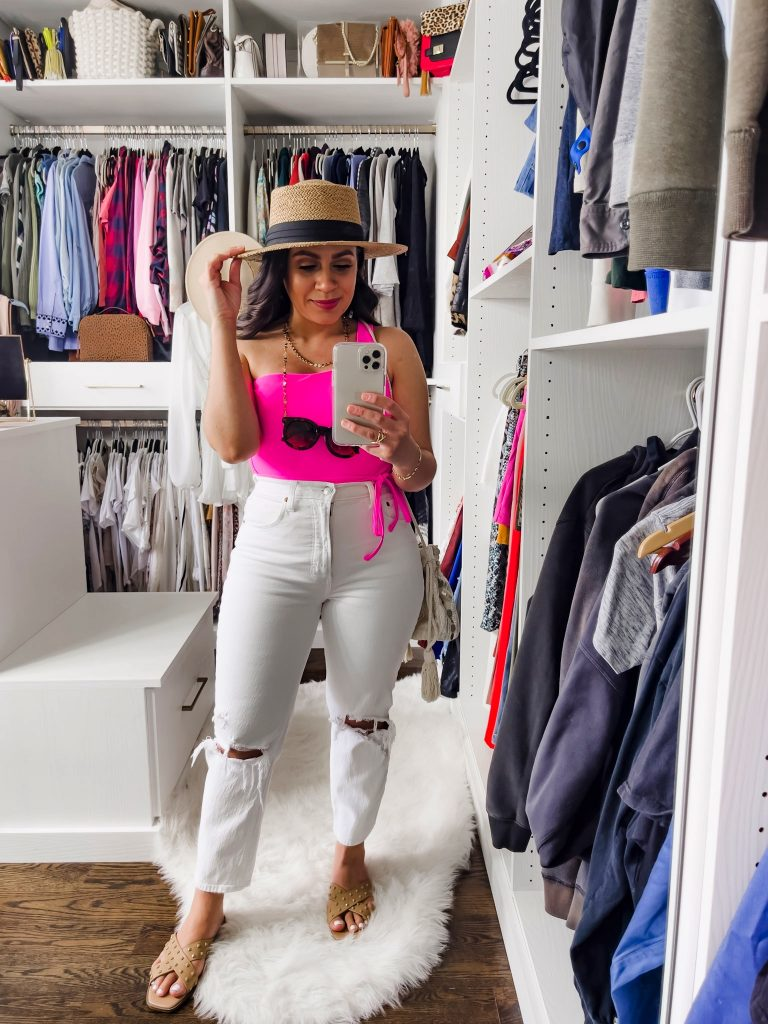 Melissa Mom with Style How to Style Mom Jeans with a One Piece Swimsuit