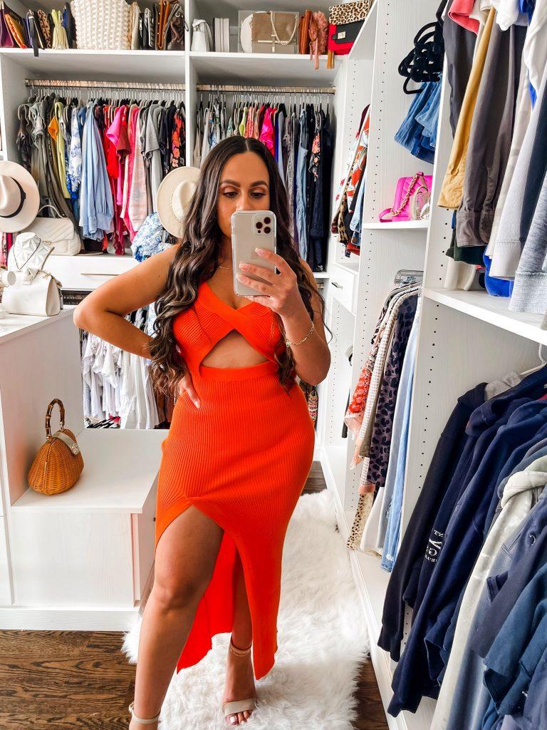 Melissa Mom with Style Orange High Slit Midi Dres