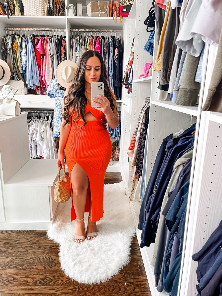 Melissa Mom with Style Orange Front Cutout High Slit Dress