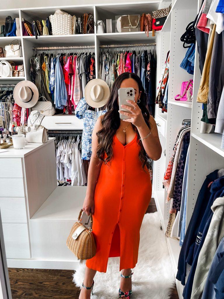 Melissa Mom with Style Orange Midi Front Button Dress