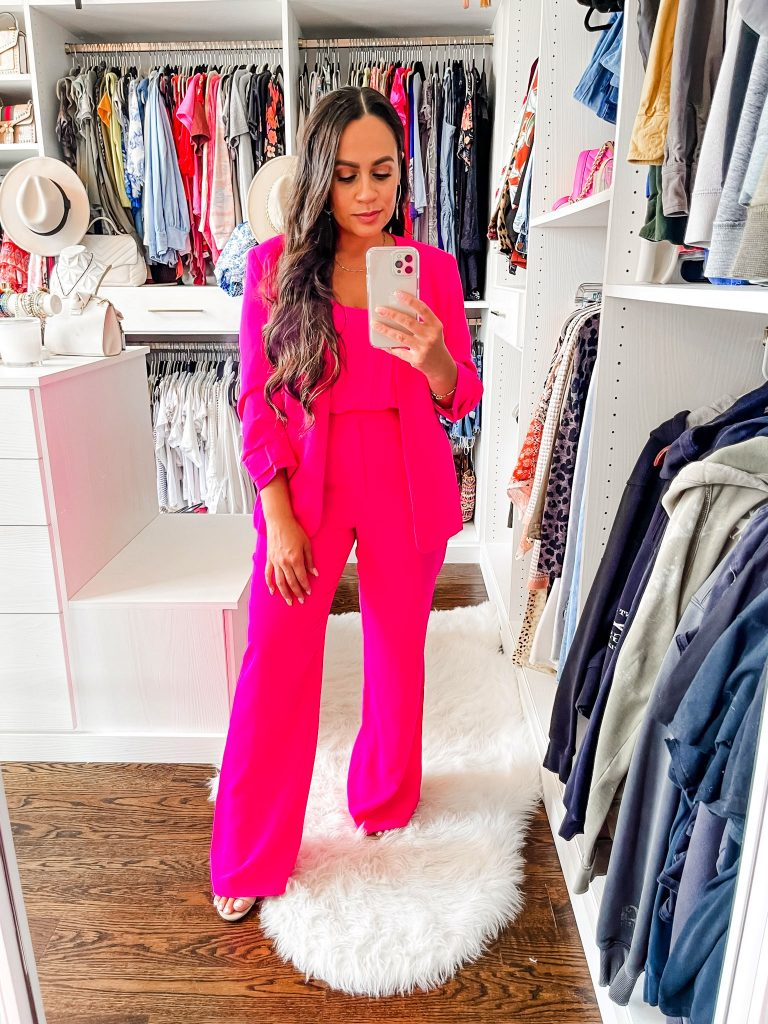Melissa with Style How to Style a Hot Pink Blazer and Pants Set