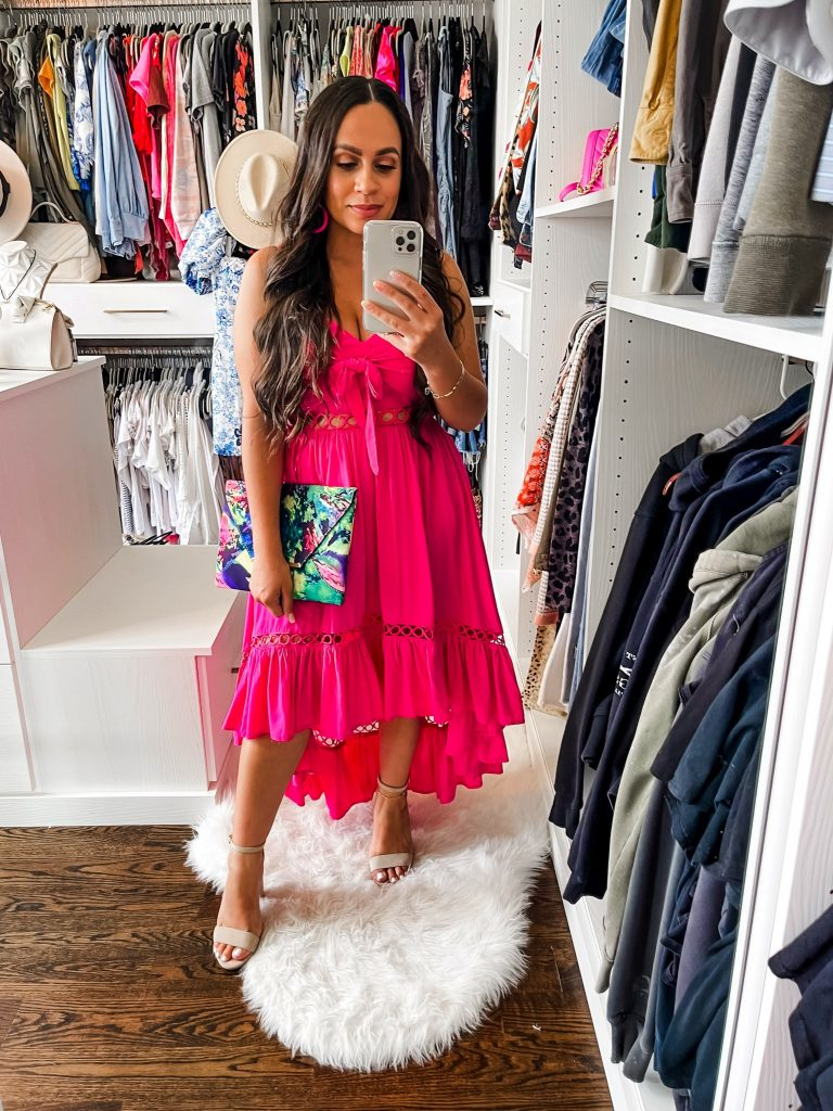 Melissa Mom with Style Cut Out Front Tie Midi Magenta Dress