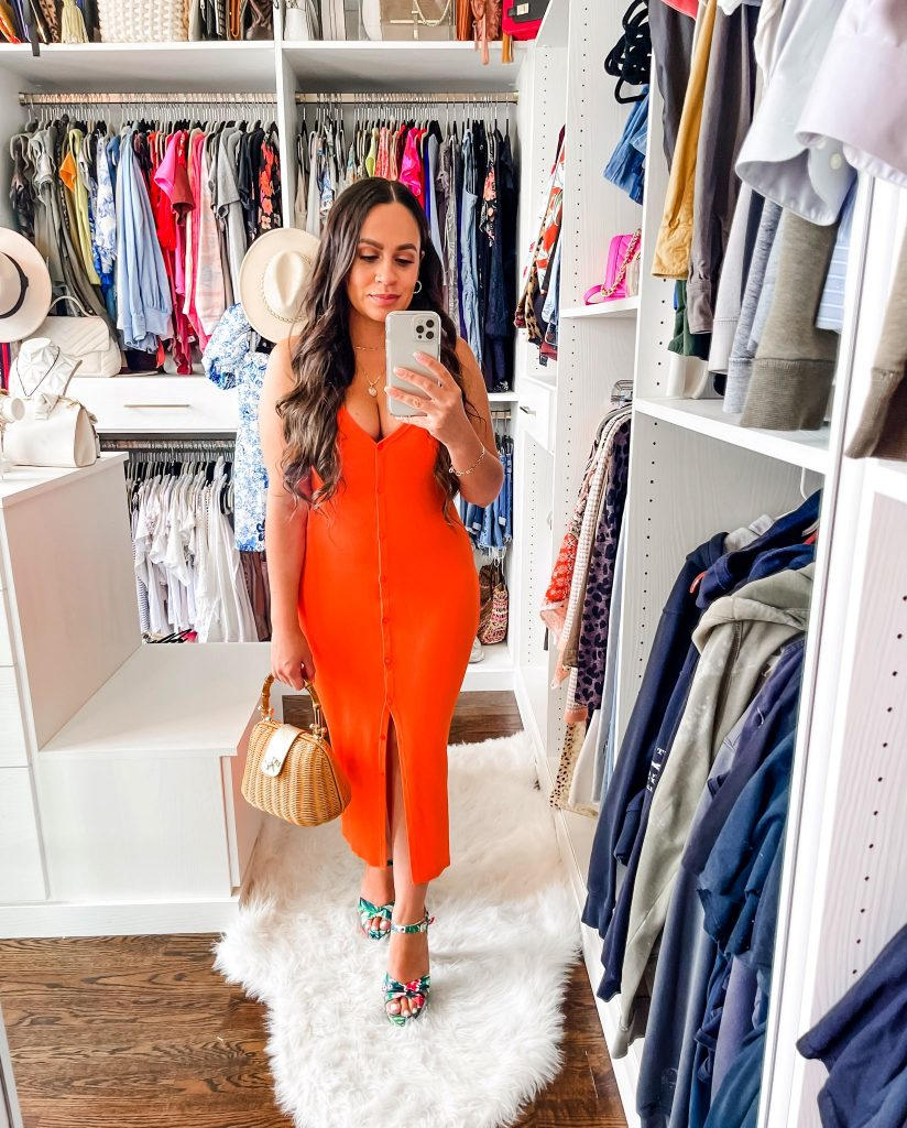 Melissa Mom with Style How to Style a Front button Midi Fitted Dress