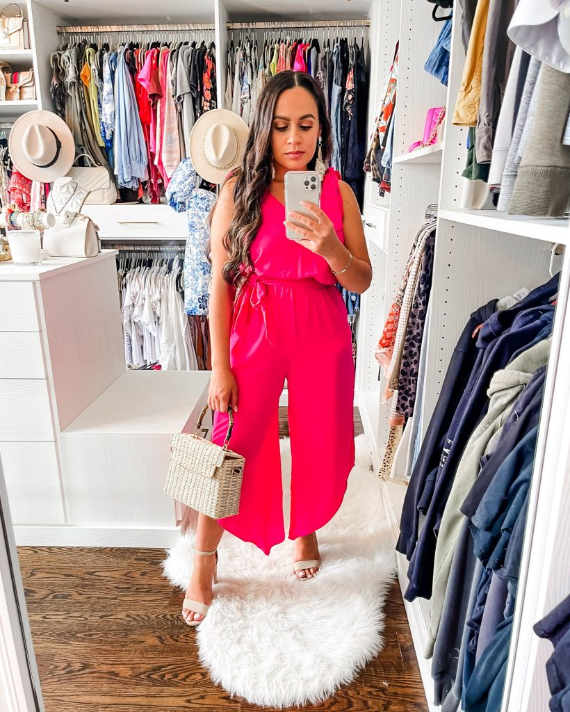 Melissa Mom with Style Asymmetrical Hot Pink Jumpsuit